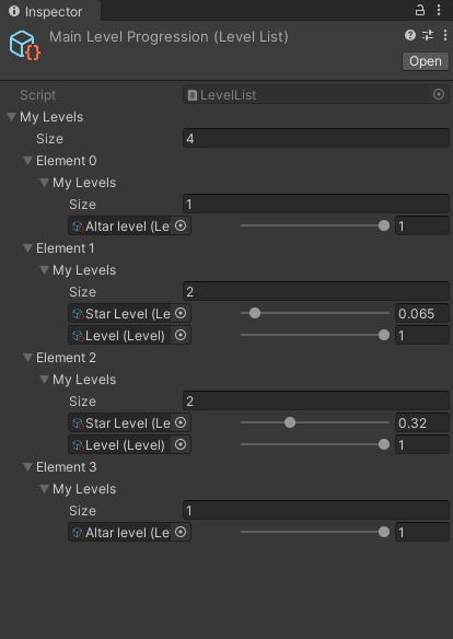There's an object that generates the level progression with weights